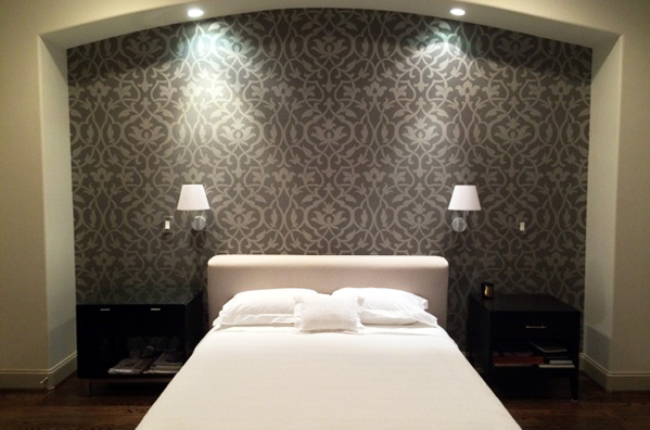 Subdued Trellis Pattern on a Bedroom Accent Wall